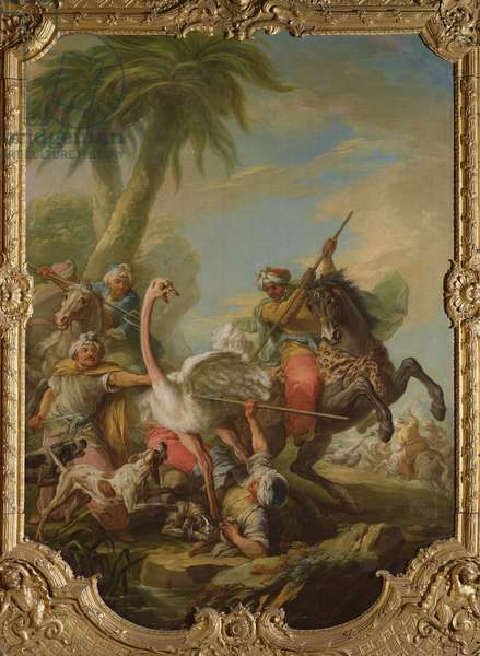The Ostrich Hunt (oil on canvas)