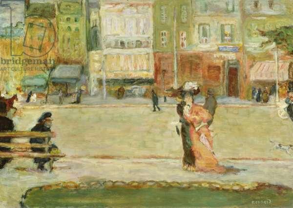 Street Scene, Avenue Clichy, Paris (oil on canvas)