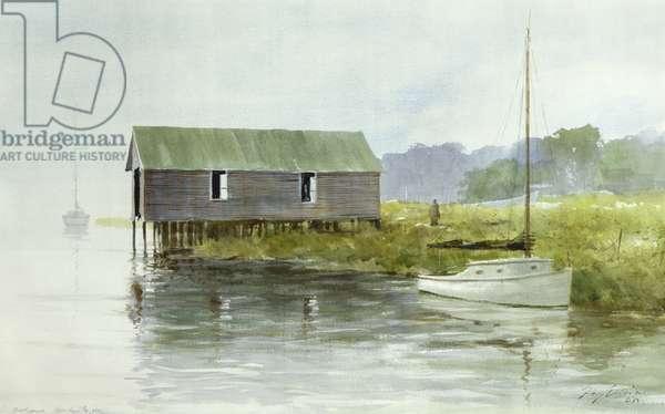 Long Island Boatshed, 1984 (oil on canvas)