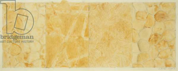 Untitled (From Untitled 1972), 1976 (metallic powder, clear acrylic, pencil & collage on paper)