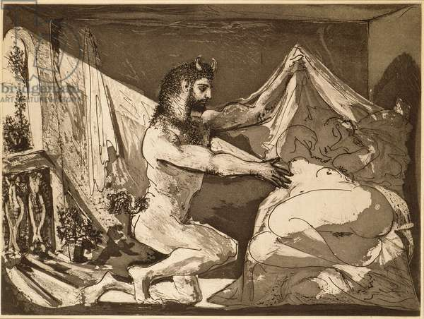 Faun Unveiling a Sleeping Girl, 1936, printed 1939 (etching & aquatint on Montval paper)