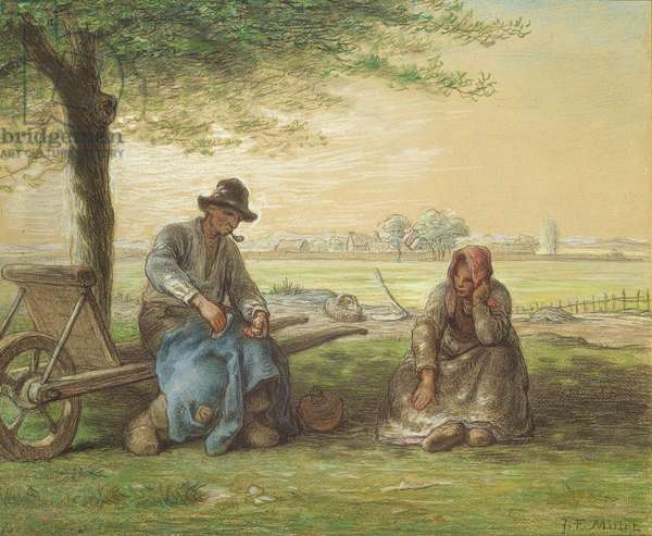 Peasants Resting, c.1866 (pencil & pastel on paper)