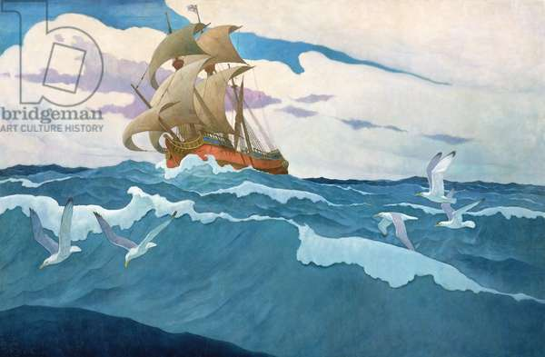 The Coming of the Mayflower in 1620, 1941 (oil on canvas)