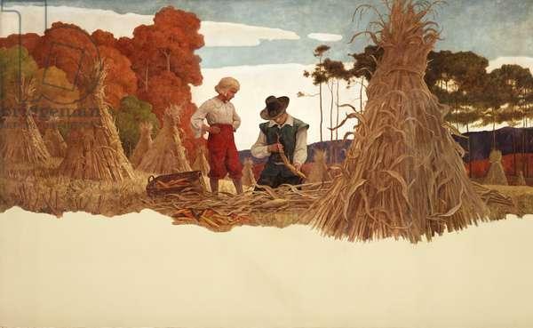 The Puritan Corn Husker, 1941 (oil on canvas)