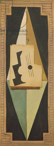 Guitar, 1919 (oil, charcoal & pinned paper on canvas)