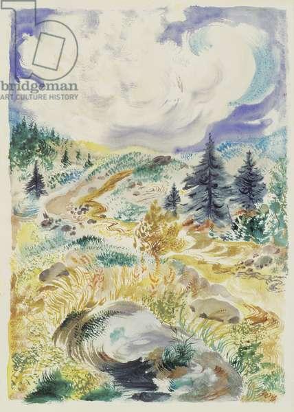 Cape Cod Landscape, c.1940 (w/c, pen & ink on paper)