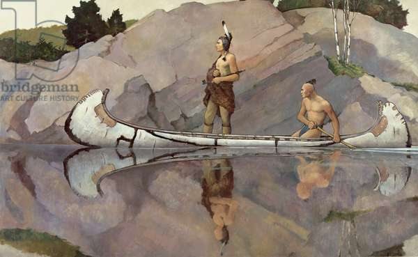 Indians in a Canoe (oil on canvas)