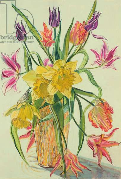 Tulips and Daffodils in an Orange Vase, 1983 (coloured chalks on paper)
