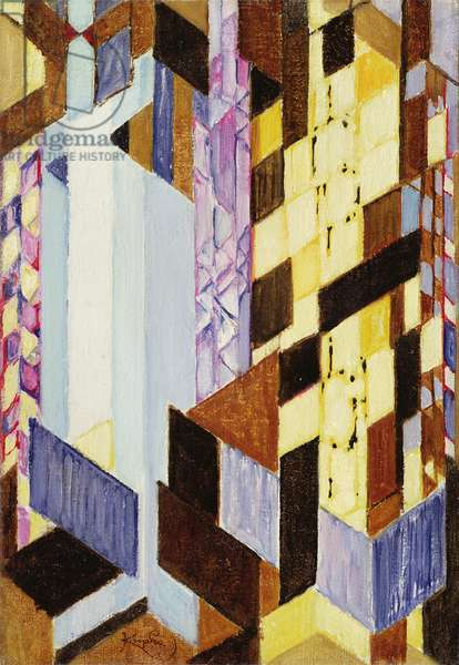 Vertical and Diagonal Planes 1913-14 (oil on canvas)