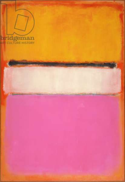 White Center (Yellow, Pink and Lavender on Rose) 1950 (oil on canvas)