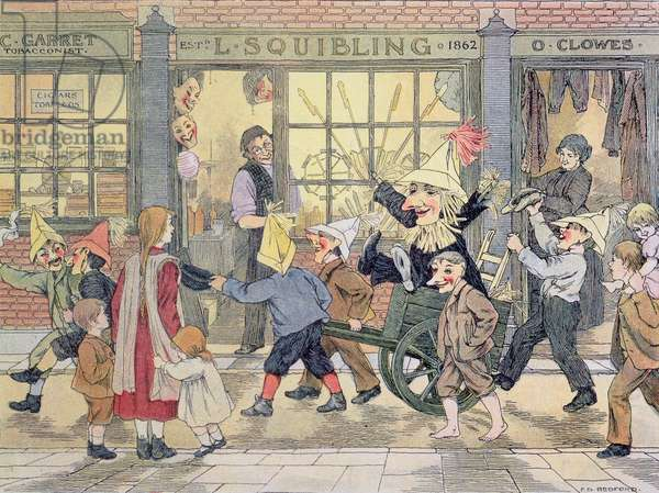 """""""Penny for the Guy"""", from 'The Book of Shops', 1899 (colour litho)"""