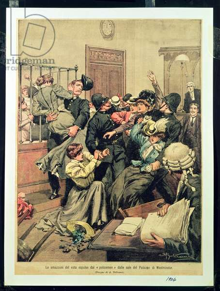Policemen expelling Suffragettes from a room in the Palace of Westminster (Le amazzoni del voto espulse dai 'policemen' dalle sale del Palazzo di Westminster), 1906 (litho)