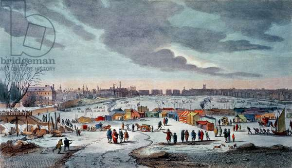 Frost Fair on the River Thames near the Temple Stairs in 1683-84, engraved by James Stow (1770-c.1820), pub. 1825 by Robert Wilkinson (colour print)