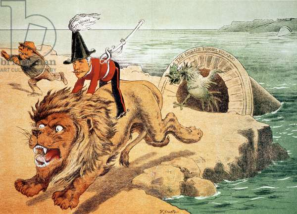 'The Lion cannot face the corwing of the Cock', The American view of the Channel Tunnel Scare, illustration from 'Puck' magazine (colour litho)