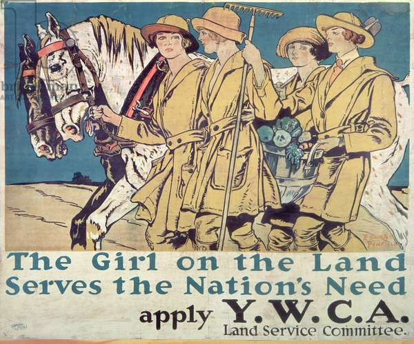 """The Girl on the Land Serves the Nation's Need"", World War I YWCA poster"