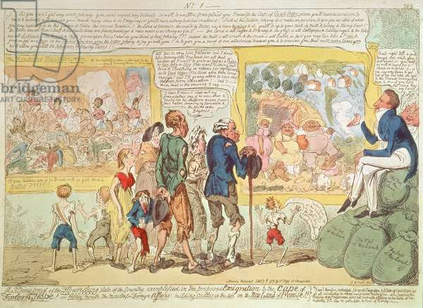 """""""A Strong Proof of the Flourishing State of the Country exemplified in the Proposed Emigration to the Cape of Good Hope!"""", 1819 (engraving)"""