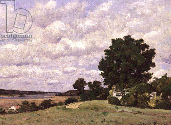 Landscape with River from the Garden at Chateau de Beauvoir (oil on canvas)