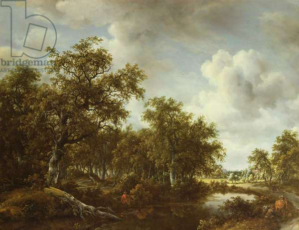 A Wooded Landscape with an Angler by a Pond, 1664 (oil on canvas)
