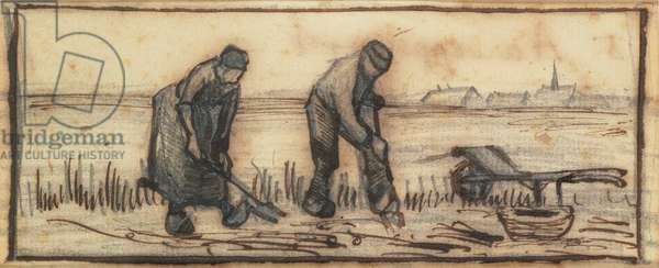 The Potato Harvest, from a series of four drawings representing the four seasons (pencil, pen & brown ink on paper) (see also 61643-5)