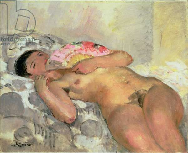 Nude Woman with a Fan (oil on canvas)