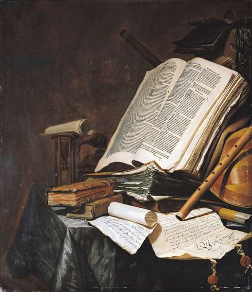 Books and Musical Instruments (oil on panel)