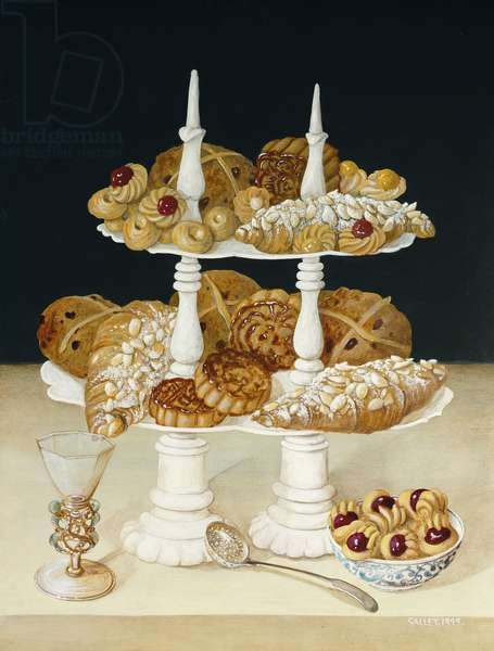 Etagere with Patisserie, 1999 (acrylic on board)