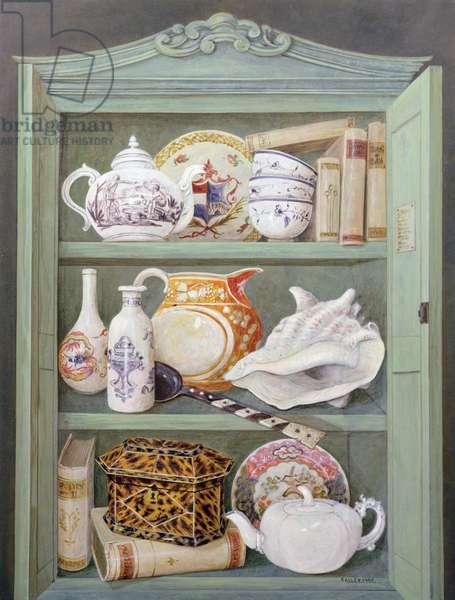 Objects in armoire, 1999 (acrylic on board)