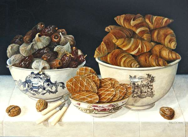 Croissant and Figs, 1999 (acrylic on board)