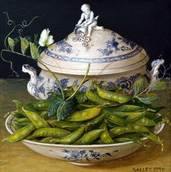 Peas and a cupid topped terreen, 1996 (acrylic on board)