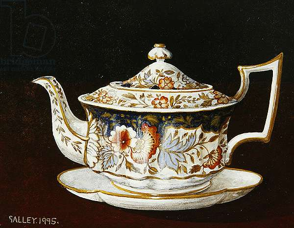 Teapot with iron and cobalt decoration, 1995 (acrylic on board)
