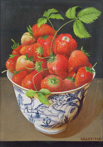 Strawberries piled high, 1993 (acrylic on board)