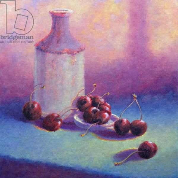 Cherries in wine glasses, 1996 (acrylic on board)