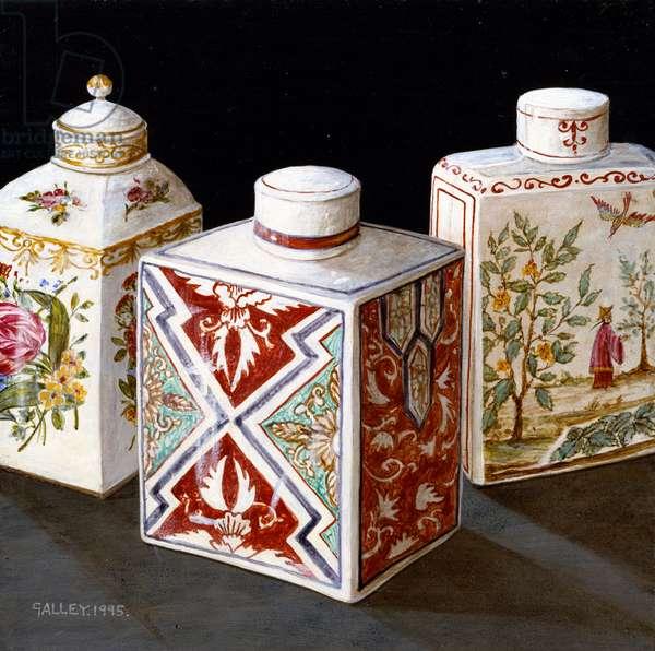 Three patterned tea caddies, 1995 (acrylic on board)