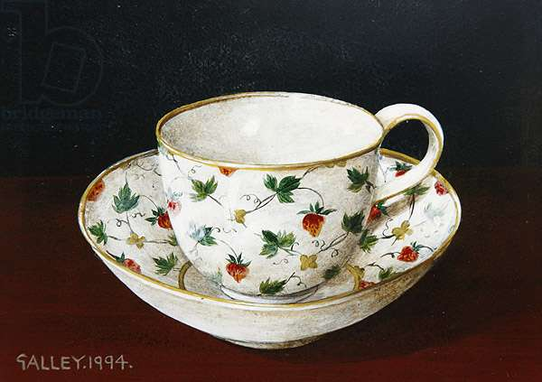 Strawberry and flower cup and saucer, 1994 (acrylic on board)