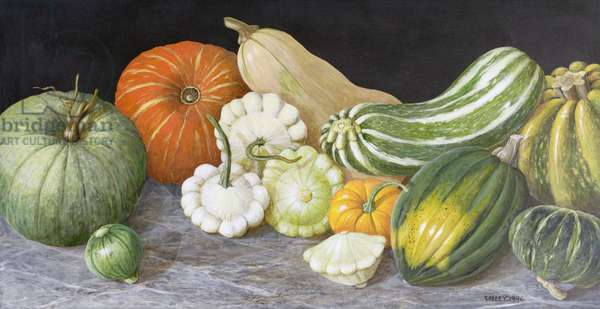 Pumpkins and Scallop Gourds (acrylic on board)