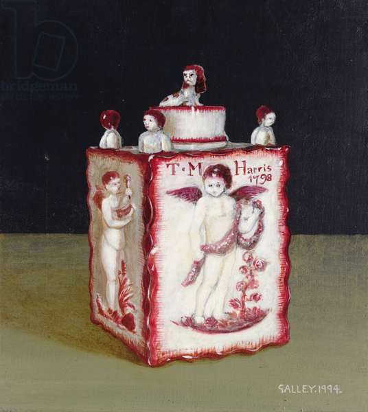 Tea caddy with cupids - pink, 1994 (acrylic on board)