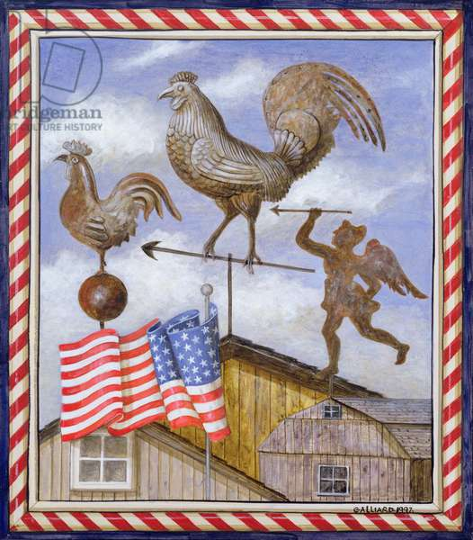 Weather Vanes with Flag (Nantucket), 1997 (oil on canvas)