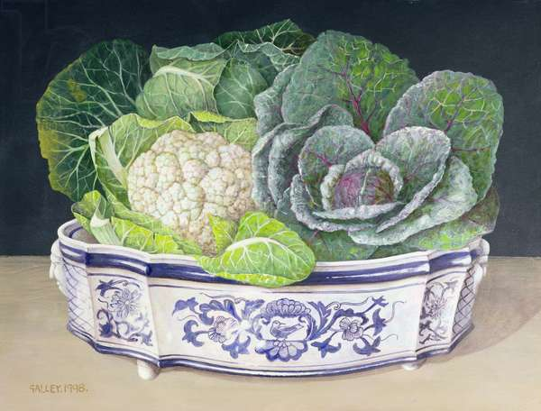 Brassicas in a Large Dish, 1998 (acrylic on board)