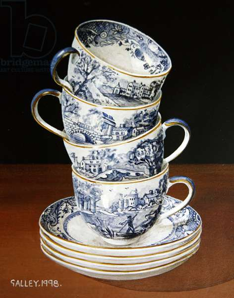 Cups and Saucers, 1998 (acrylic on board)