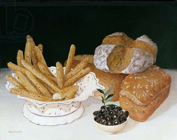 Bread with Olives, 1999 (acrylic on board)