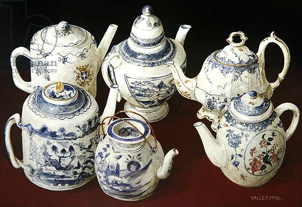 Six blue and white teapots, 1996 (acrylic on board)