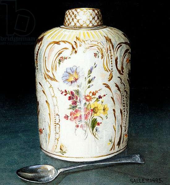 Floral tea caddy with spoon, 1993 (acrylic on board)