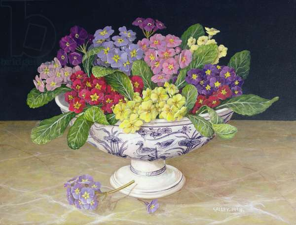 Primulas in a Pedestalled Bowl (acrylic on board)