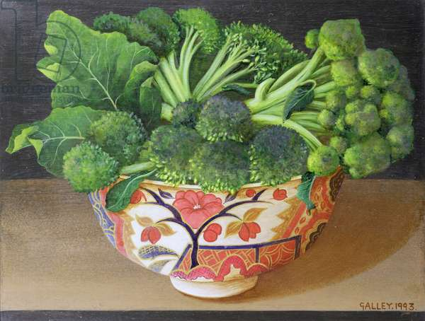 Broccoli in Imari Ware, 1993 (acrylic on board)