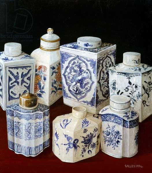 Seven china teacaddies, 1995 (acrylic on board)