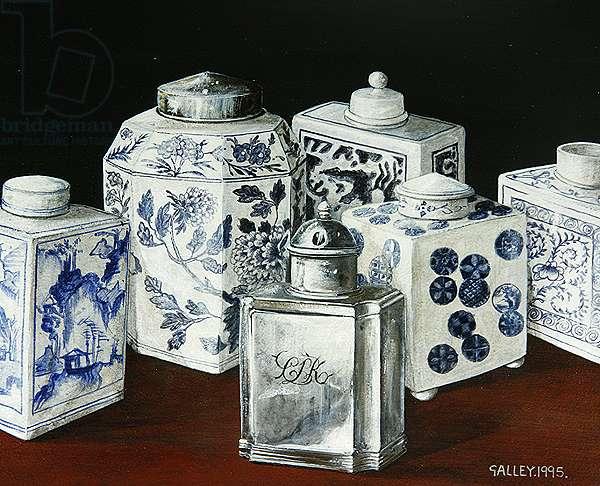 Six tea caddies with one silver, 1995 (acrylic on board)