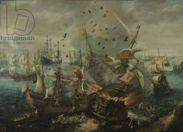 The Explosion of the Spanish Flagship during the Battle of Gibraltar, c.1621 (oil on canvas)