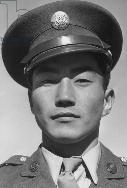 Corporal Jimmie Shohara. Manzanar Japanese American Internment Camp, California, 1943 (b/w photo)