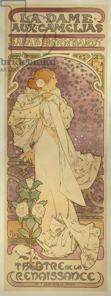 """""""La Dame aux Camélias"""", with Sarah Bernhardt, 1896 (colour litho)"""
