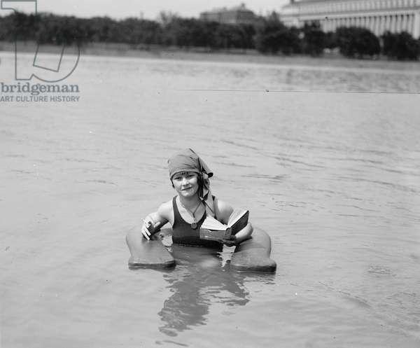 Muriel Quackenbush in Surf Chair at Bathing Beach, Washington DC, USA, 1922 (b/w photo)